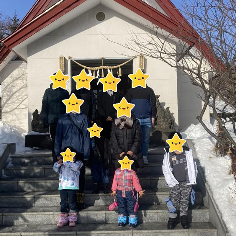 上手稲神社での集合写真